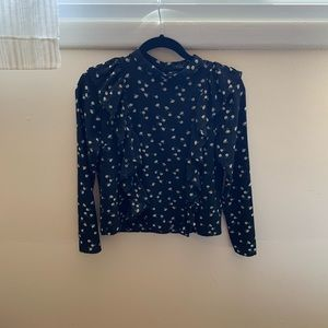 Forever 21 daisy printed long sleeve blouse